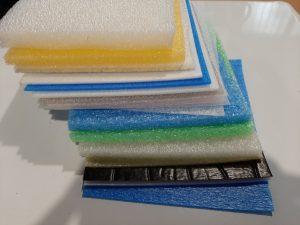 Pianki kolorowe różne rodzaje, verschiedene Schaumstoffe, ESD, EVA, Polyethylen Schäume, verschiedene Farben, Dicken und Dichten, Colours Foams